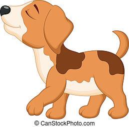 cartone animato, cane cammina