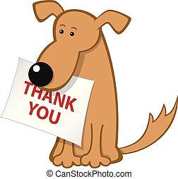 cartone animato, cane, con, messaggio, carta