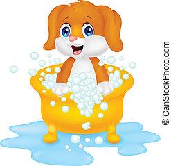 cartone animato, cane, il bagnarsi