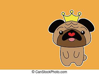 cartone animato, cane pug, illustrazione, o