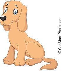 cartone animato, cane, seduta