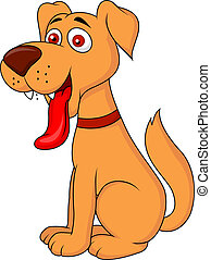 cartone animato, cane, sorridente