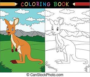 cartone animato, canguro, libro colorante