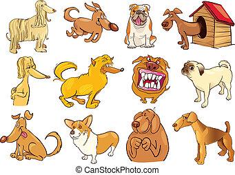 cartone animato, cani, set