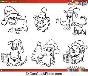 cartone animato, cani, su, natale, set, libro colorante