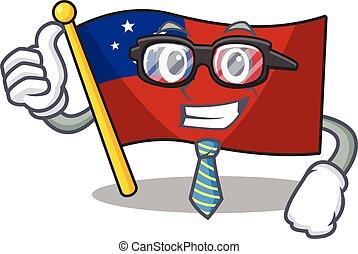 cartone animato, carattere, fresco, samoa, rotolo, uomo affari, bandiera, occhiali