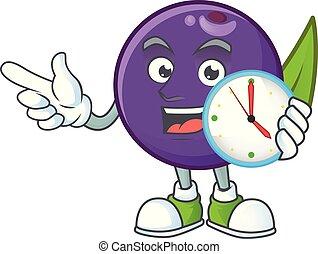 cartone animato, carattere, salute, orologio, bacche, acai