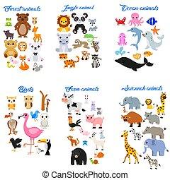 cartone animato, carino, animali, grande, collezione