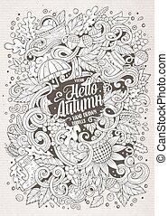 cartone animato, carino, doodles, mano, disegnato, autunno, illustrazione