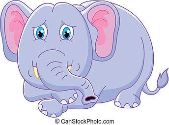 cartone animato, carino, elefante