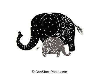 Elefante mamma bambino.