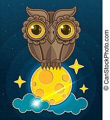 Carino seduta illustrazione luna vettore stelle bambino