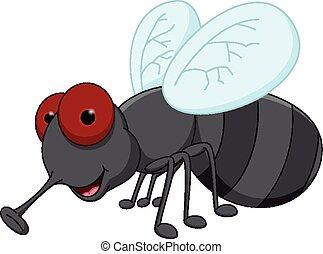 cartone animato, carino, mosca