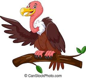 cartone animato, carino, ramo, stare in piedi, avvoltoio
