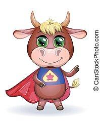 cartone animato, carino, rosso, mucca, calendar., eroe, simbolo, toro, costume, orientale, 2021, mantello