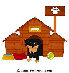 cartone animato, casa, carino, cane