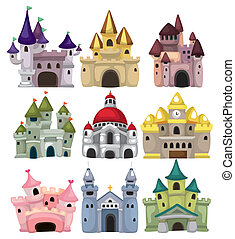 cartone animato, castello racconto fairy, icona