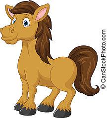 cartone animato, cavallo, carino