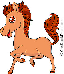 cartone animato, cavallo, marrone