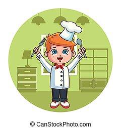 cartone animato, chef, ragazzo