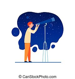 cartone animato, cielo, telescopio, icona, stile, notte, ...