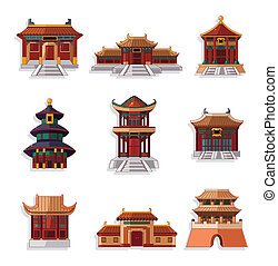 cartone animato, cinese, icona casa, set