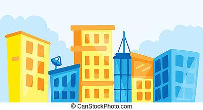 cartone animato, cityscape