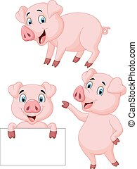 cartone animato, collezione, maiale