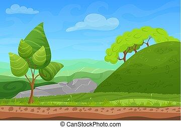 cartone animato, colorare, natura, primavera, estate, paesaggio, in, sole, giorno, con, erba, albero, cielo, e, hills., vettore, domenica, gioco, stile, illustration., fondo, per, games.
