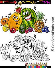 cartone animato, coloritura, gruppo, libro, frutte