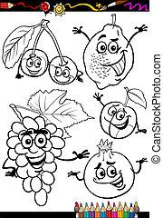 cartone animato, coloritura, set, libro, frutte