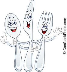 cartone animato, coltello, cucchiaio, forchetta