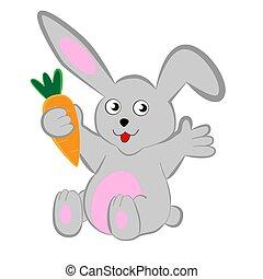 cartone animato, coniglio, carrot.