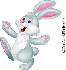 cartone animato, coniglio, felice