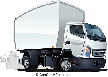 cartone animato, consegna, /, camion carico