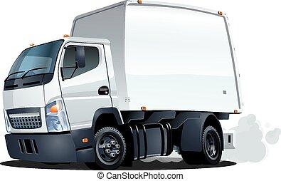 cartone animato, consegna, o, camion carico