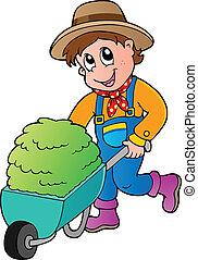 cartone animato, contadino, con, piccolo, fieno, carrello