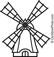cartone animato, contorno, mulino vento, icona