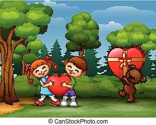 Coppia orso re tenere bambino cartone animato cuore coppia
