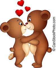 cartone animato, coppia, orso, baciare