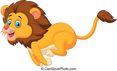 cartone animato, correndo, leone, carino