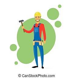 cartone animato, costruttore, costruzione, carpentiere, lavoratore, presa a terra, martello