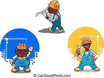 cartone animato, costruttore, muratore, e, ingegnere
