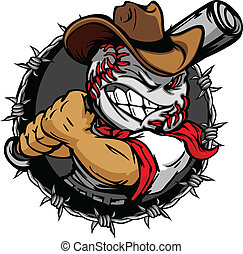 cartone animato, cowboy, baseball, faccia, holdin