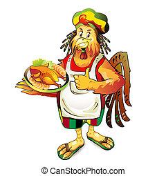 cartone animato, cuoco, noce di cocco