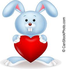 cartone animato, cuore, rosso, coniglio