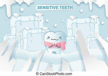 cartone animato, dente, con, sensibile, problema
