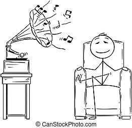 cartone animato, di, equipaggi seduta, in, poltrona, e, godere, udienza, musica, da, anticaglia, grammofono