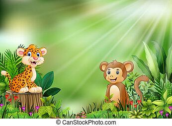 Bambino albero scimmia. paesaggio tropicale scimmia