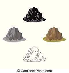 cartone animato, differente, erba, affilato, colori scuri, stile, montagna, simbolo, icona, vettore, ripido, casato, montagne, singolo, illustration., nero, spikes., alto